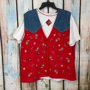 90's Vintage 2-Piece T-Shirt and Vest Set